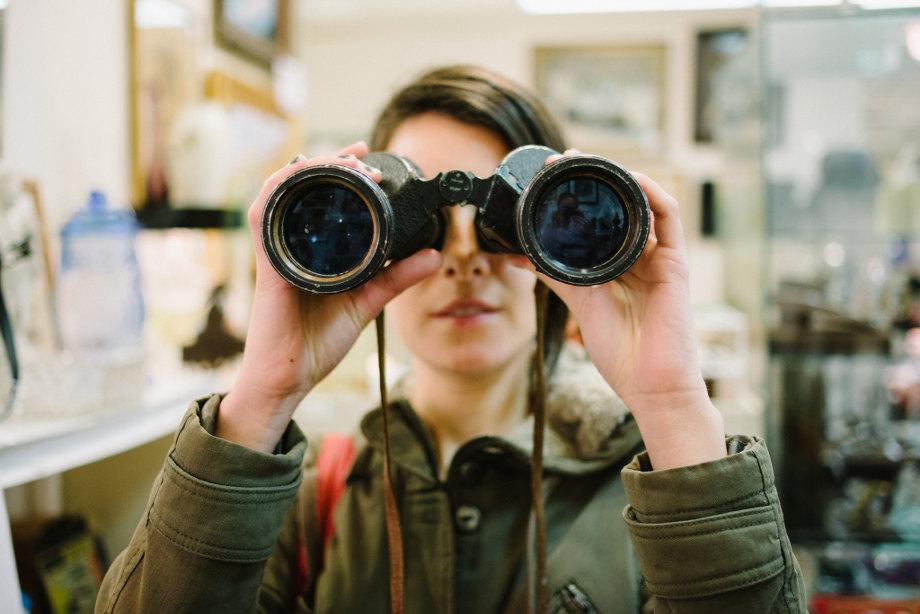 Woman with binocular
