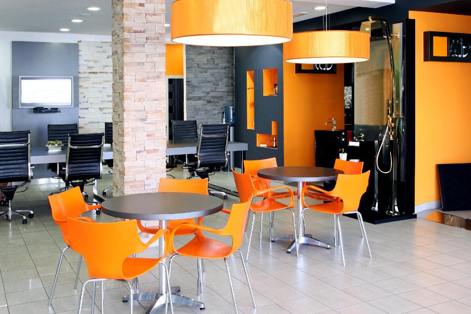 Bright orange office space